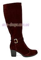 Женские бордовые демисезонные сапоги на невысоком каблуке. 40 размер