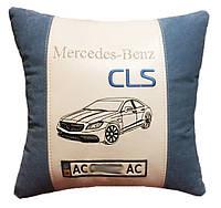 Автомобильная подушка сувенир  с вышивкой силуэта машины подарок в машину
