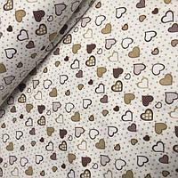 Фланель коричнево-бежевые сердца на молочном фоне(№506)