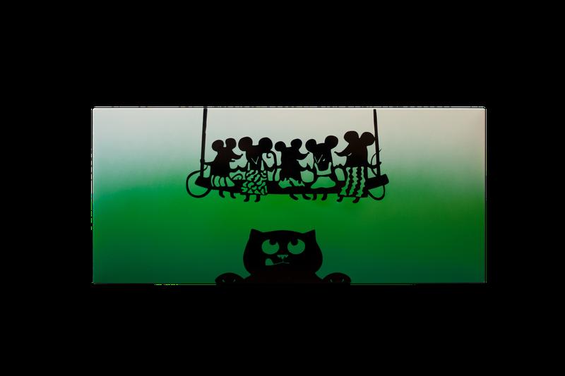 """Керамический дизайнерский обогреватель """"Кошки-мышки"""" (зеленая)"""