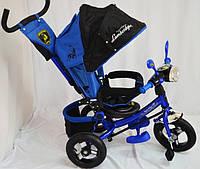 Трехколесный велосипед Lamborgini WS-610F AIR с фарой, надувные колеса. Синий.