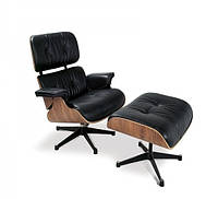 Кресло Релакс с оттоманкой, кожа черная (СДМ мебель-ТМ)