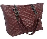 S.Mobi Sempre 1 (Bordo & nickel) - Бордовая стеганая большая сумка изнатуральной кожи