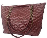 S.Mobi Sempre 2 ( Bordo & Antik ) - Бордовая стеганая большая сумка изнатуральной кожи