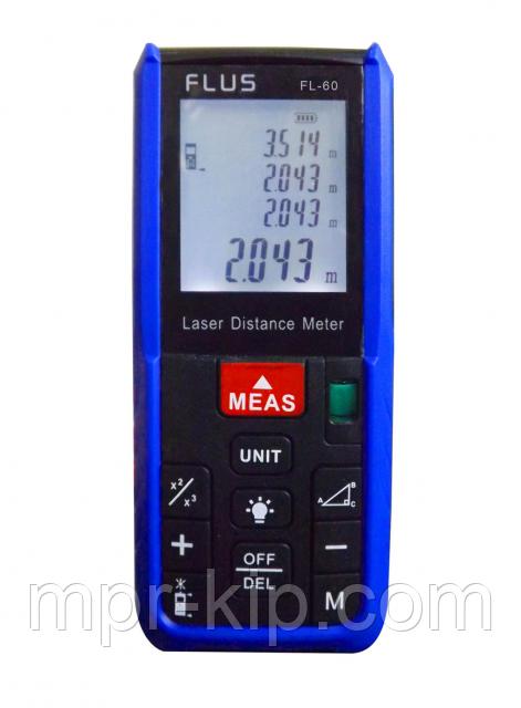 Лазерный дальномер ( лазерная рулетка ) Flus FL-60 (0,039-60 м) проводит измерения V, S, H