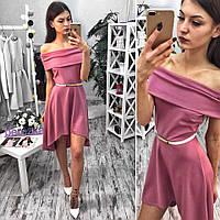 Платье с открытыми плечами и асимметричным низом трикотаж 6 цветов 6SMb1118