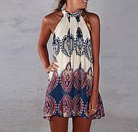 Пляжное платье - майка прямое расклешенное трикалор белое синее черное Boho
