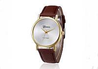 Женские часы с ремешком коричневого цвета Geneva (207)