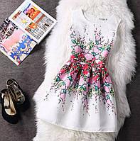 Платье белое коктейльное c розовыми сердечками