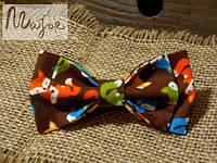 Детская бабочка коричневая с лисами Классик2