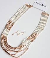 Модный комплект украшений: колье+серьги DRESS 6201_бел