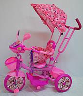 Трехколесный велосипед WS-828R-2 (NP). С FM-радио и МР-3 плеером. Розовые колеса.