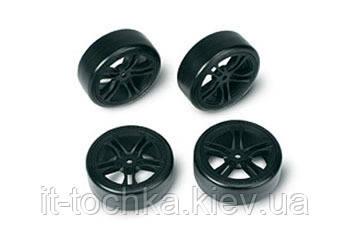 Team magic e4d drift car mounted tire 5 spoke black 4p
