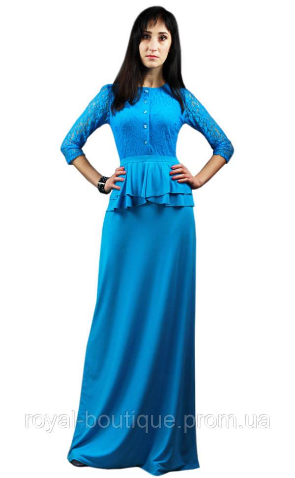fca6d94f863 Длинное платье голубого цвета - Магазин женской одежды «Роял-бутик» в Белой  Церкви