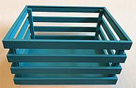 Декоративный бирюзовый деревянный ящик , фото 1