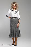 Красивая юбка годе из французской костюмной ткани большие размеры 48-58, фото 1