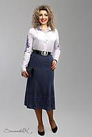 Красивая юбка годе из купонного трикотажа большие размеры 52-58, фото 1