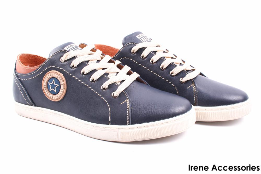 Туфли мужские Konors натуральная кожа синие (спортивные, мокасины мужские,  комфорт, синий, 3f6913a9719
