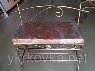 Кованый пуф со спинкой 80 см