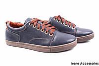 Туфли мужские Konors кожаные синие (мокасины мужские, комфорт, синий, Украина)