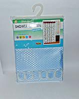 Штора для ванной тканевая однотонная голубая, фото 1