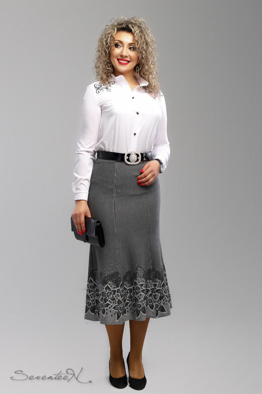 dab1fff4142 Красивая юбка годе из купонного трикотажа большие размеры 52-58 - 💎TM