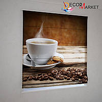 Римские шторы на кухню кофе