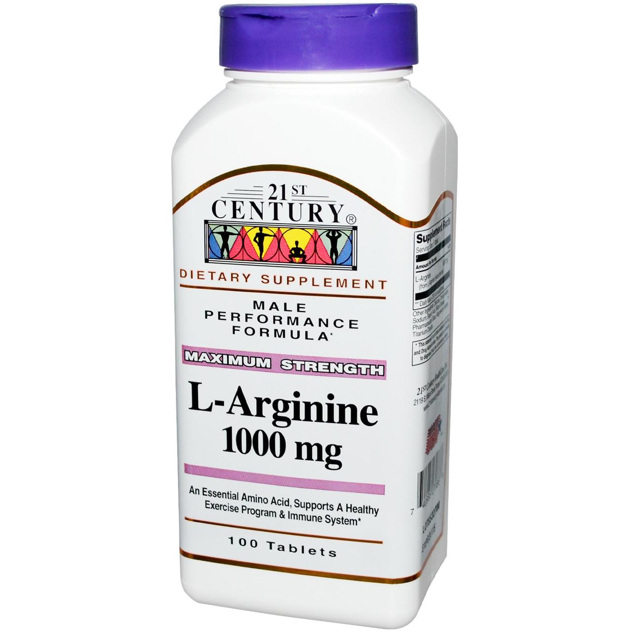 L-аргинин, 21st Century, 1000 мг, 100 таблеток