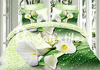 Евро двуспальный комплект постельного белья Калла зеленый