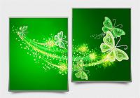 """Моддульная картина Диптих """"Ажурные бабочки"""" зеленый"""
