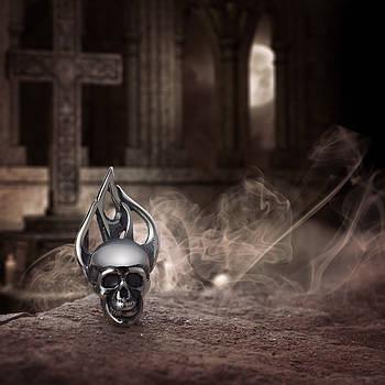 Серебряная серьга Череп в огне