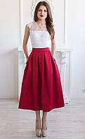Красная котоновая юбка миди