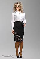 Модная женская юбка с перфорацией и кожей из костюмного трикотажа большие размеры 48-54