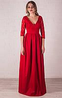 Вечернее красное платье в пол с рукавом