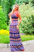 Летнее платье в пол с узором 44-54 размеры, фото 1