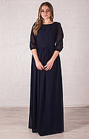Длинное платье темно синего цвета