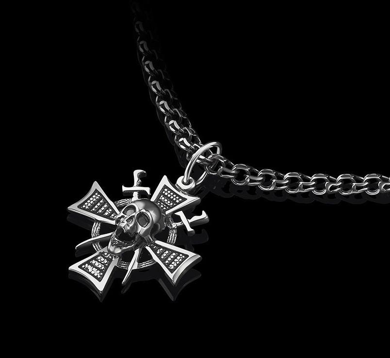 Срібний кулон Череп і хрест