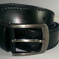 Ремень мужской кожаный 4,5 см с чёрной двойной строчкой