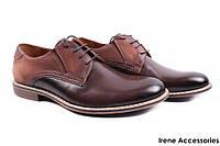 Туфли мужские Conhpol натуральная кожа + нубук коричневые (мокасины мужские, комфорт, коричневый, Польша)
