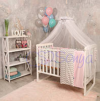 Набор в детскую кроватку Baby Design зигзаг серо-розовый (7 предметов), фото 1