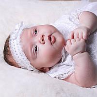 Детская повязка Белла (Изабелла) от Miminobaby белая