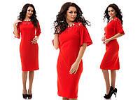 Стильное платье средней длины.Ткань креп-дайвинг.Цвет красный