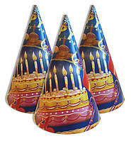 """Колпачки, колпаки праздничные, большие """"Праздничный торт"""", 20 шт/уп., 20 см"""