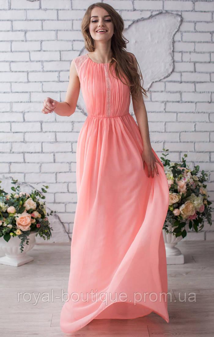 ea070b27999 Персиковое вечернее платье с кружевом - Магазин женской одежды «Роял-бутик»  в Белой