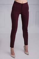Модные укороченные брюки бордового цвета