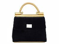 Бархатная сумочка в стиле Dolce & Gabbana (черная)  №9074-X-R