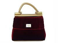 Бархатная сумочка в стиле Dolce & Gabbana (бордовая)  №9074-X-R