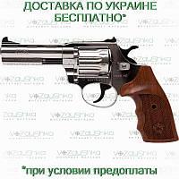 Револьвер флобера Alfa 441 никелированный, деревянная рукоять