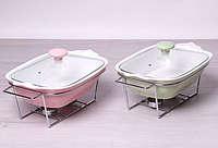 Мармит керамический 1,4 л со стеклянной крышкой и подставкой Kamille 6405