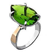 """Срібне кільце """"Весна"""" -  срібло 925 проби з золотими вставками, серебряное кольцо с золотыми вставками"""